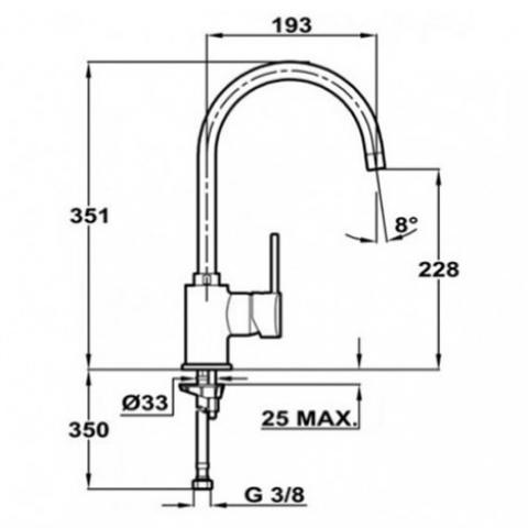 Смеситель кухонный Teka Alaior H (SP 995) (55995020T) топаз