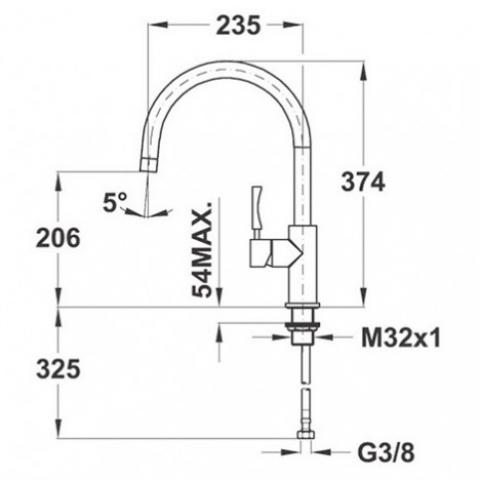 Смеситель кухонный Teka Inox H3 (INX 915) (749150210) нержавеющая сталь