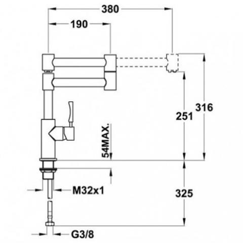 Смеситель кухонный Teka Inox H4 (INX 983) (749830210) нержавеющая сталь