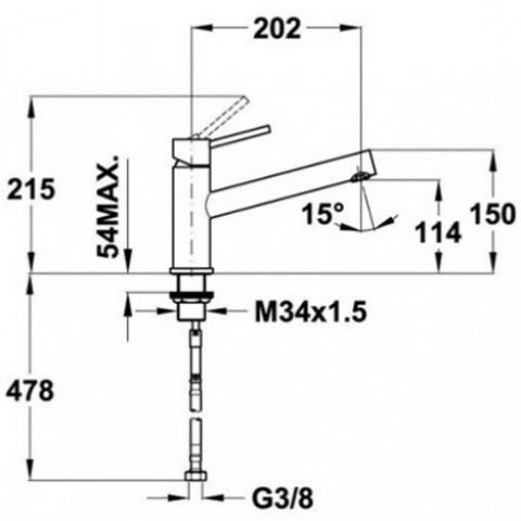 Смеситель кухонный Teka Inox L1 (INX 919) (749190310) нержавеющая сталь