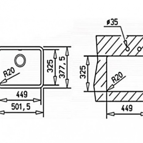 Кухонная мойка Teka Radea 450/325 TG (40143651) черный металлик