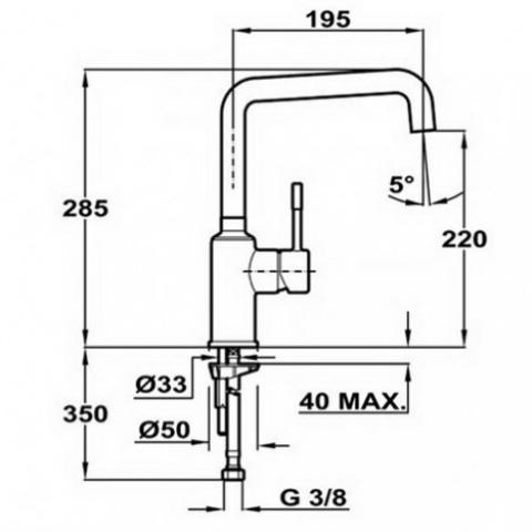 Смеситель кухонный Teka Frame H (FR) (509150210) хром