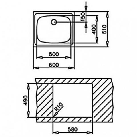 Кухонная мойка Teka UNIVERSAL 465.465 1B (30000046) микротекстура