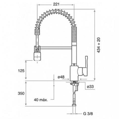 Смеситель кухонный Teka Alaior XL Pro (ARK 937) (239371200) хром