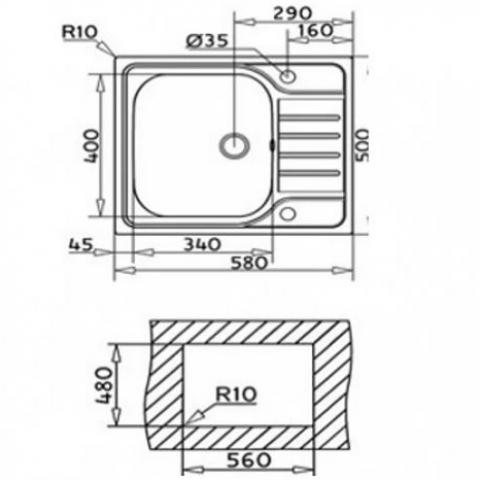 Кухонная мойка Teka UNIVERSAL 580.500 1B 1D (40109616) нержавеющая сталь