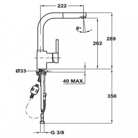 Смеситель кухонный Teka ARK 938 FM (Matt Chrome) (23938120FM) мат-хром