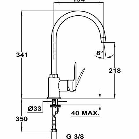 Смеситель кухонный Teka Inca H (IN 995) (53995120FW) хром/гранит (белый)