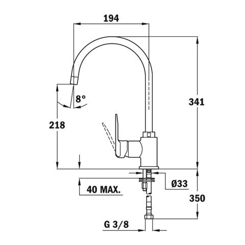 Смеситель кухонный Teka SP 995 (Alaior H) (55995020CN) черный металлик