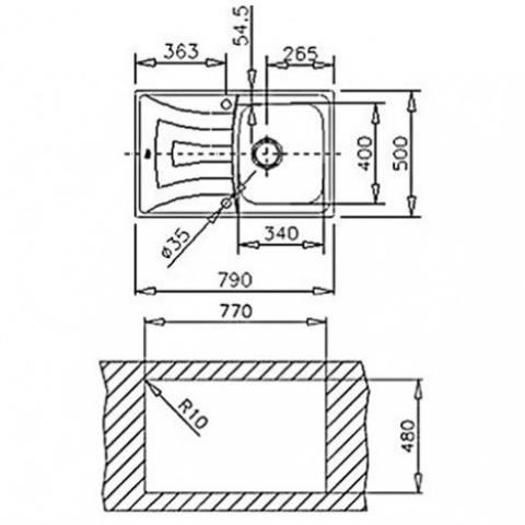 Кухонная мойка Teka UNIVERSO 1B 1D 79 (10120045) микротекстура