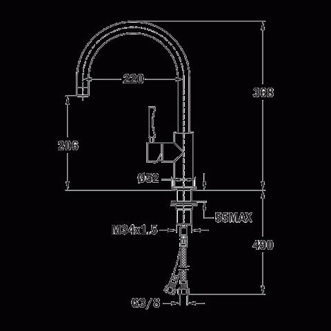 Смеситель кухонный Teka Inox H3 (INX 915) (749150200) нержавеющая сталь