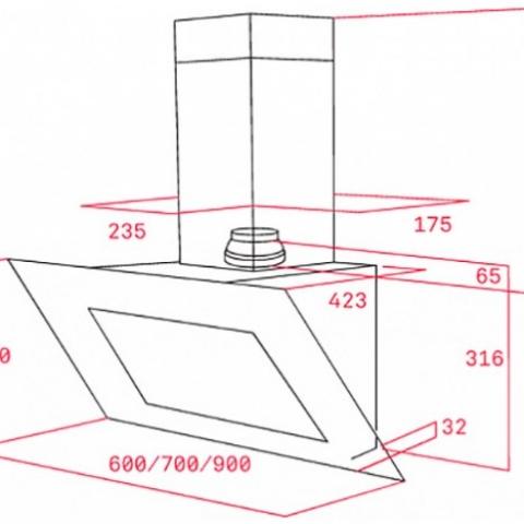 Вытяжка кухонная Teka DVT 980 W (40483542) белое стекло