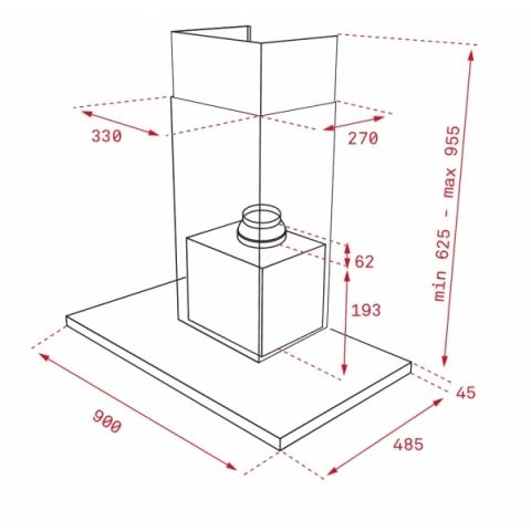 Кухонная вытяжка Teka DLH 986 T (40487182) нерж. сталь/ черное стекло
