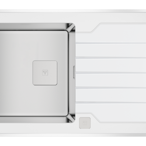 Кухонная мойка Teka Diamond 1B 1D 86 (115100012) белое стекло