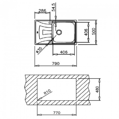 Кухонная мойка Teka UNIVERSO MAX 79 1B 1D (115120003) нержавеющая сталь