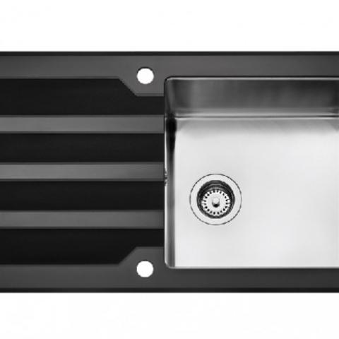 Кухонная мойка Teka Lux 1B 1D 86 REV (12129008) нержавеющая сталь/черное стекло