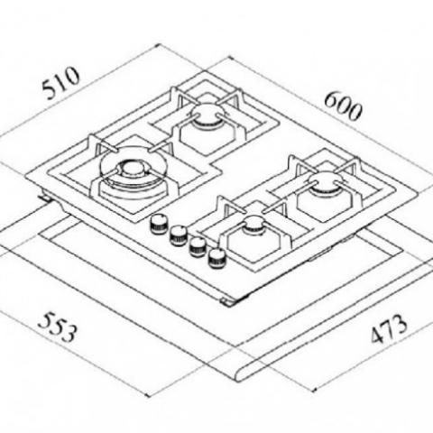 Газовая варочная поверхность Teka WISH Total EFX 60 4G AI AL CI DR (40214306) нержавеющая сталь