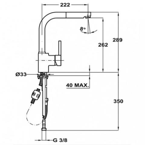 Смеситель кухонный Teka ARK 938 (23938121Q) черный металлик/хром